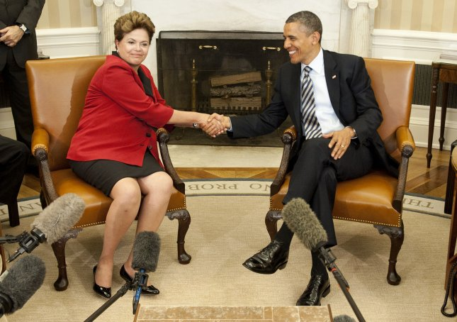 U.S. President Barack Obama meets with Brazilian President Dilma Rousseff in the Oval Office of the White House in Washington on April 9, 2012. UPI/Kevin Dietsch