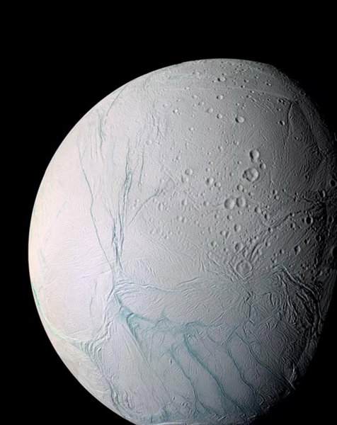 The Cassini spacecraft has found evidence of liquid water spewing from geysers on the surface of Saturn's moon Enceladus, MArch 10, 2006. This discovery raises the possibility of a potential environment that may support life. (UPI Photo/NASA)