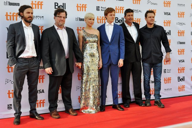 Director Kenneth Lonergan (second from left) and his cast (L-R) Casey Affleck, Michelle Williams, Lucas Hedges, Kyle Chandler and producer Matt Damon arrive at the Toronto International Film Festival premiere of Manchester by the Sea on September 13. File Photo by Christine Chew/UPI