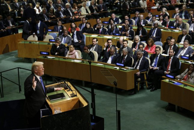 President Donald Trump speaks at the United Nations General Assembly in New York City on Tuesday. Photo by John Angelillo/UPI