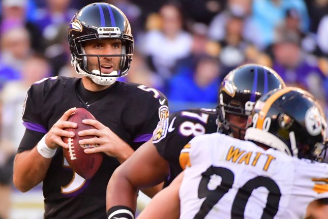 Baltimore Ravens quarterback Joe Flacco (5) looks to pass against the Pittsburgh Steelers in the fourth quarter on November 4 at M&T Bank Stadium in Baltimore. Photo by Kevin Dietsch/UPI