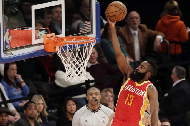 Houston Rockets shooting guard James Harden makes a layup in the first half against the New York Knicks on January 8, 2015 at Madison Square Garden in New York City. File photo by John Angelillo/UPI