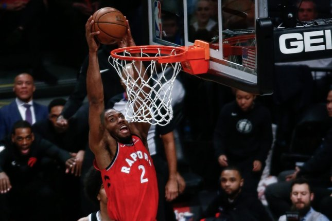 Toronto Raptors forward Kawhi Leonard (2) scored 39 points in the Raptors' win in Game 4 Sunday. The series is tied 2-2. File Photo by Nicole Sweet/UPI