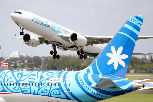 An Airbus A330 Neo is seen at the 53rd Paris Air Show at Le Bourget, North of Paris, France, on June 17, 2019. File Photo by Eco Clement/UPI