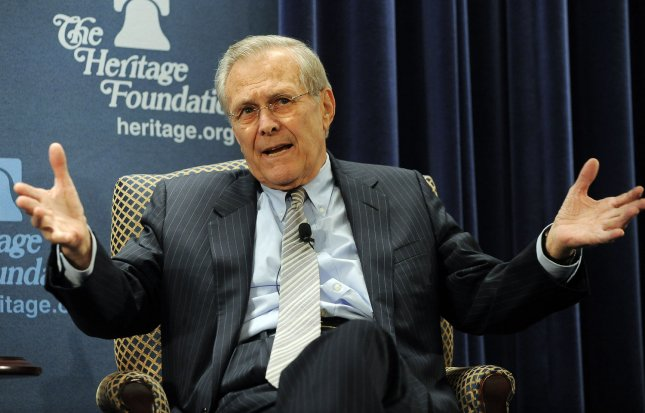 Former Defense Secretary Donald Rumsfeld discusses his book Known and Unknown: A Memoir at the Heritage Foundation in Washington on February 22, 2011. UPI/Roger L. Wollenberg