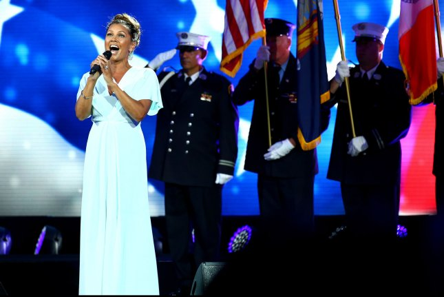 Vanessa Williams performs during the Opening Night Ceremony at the US Open Tennis Championships at the USTA Billie Jean King National Tennis Center in New York City on Aug. 31, 2015. UPI/Monika Graff