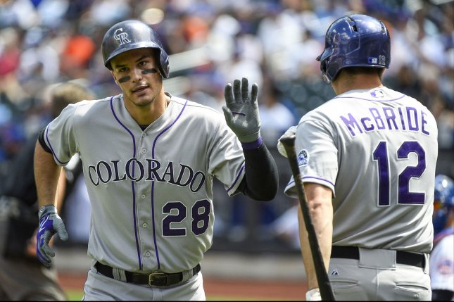 Colorado Rockies third baseman Nolan Arenado (28) reacts with Rockies first baseman Matt McBride (12). Photo by Rich Kane/UPI
