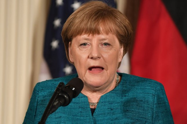 During her closing remarks at the G20 summit, German Chancellor Angela Merkel was critical of the United States' decision to withdraw from the Paris agreement on climate change. Photo by Pat Benic/UPI