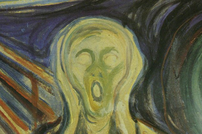 Armed robbers pulled the Edvard Munch painting The Scream, from the walls of the Munch Museum and escaped in broad daylight in Oslo on August 22, 2004. The painting was found about two years later. File Photo by Bill Greenblatt/UPI