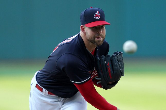 Cleveland Indians Corey Kluber pitches during the first inning of a game against the Colorado Rockies at Progressive Field in Cleveland, Ohio on August 8, 2017. File photo by Aaron Josefczyk/UPI
