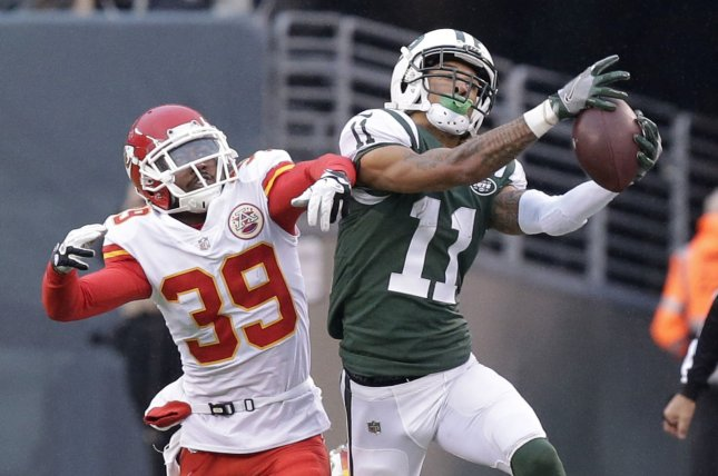adec3356265 Kansas City Chiefs defensive back Terrance Mitchell (39) defends New York  Jets wide receiver Robby Anderson (11) in the third quarter in Week 13 of  the NFL ...