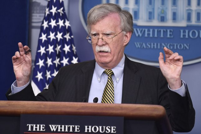National security adviser John Bolton will meet with Russian President Vladimir Putin Tuesday. Photo by Mike Theiler/UPI