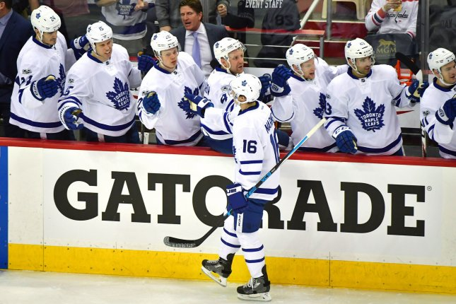 Toronto Maple Leafs center Mitch Marner scored the final goal of the team's win against the Vegas Golden Knights on Thursday in Las Vegas. File Photo by Kevin Dietsch/UPI