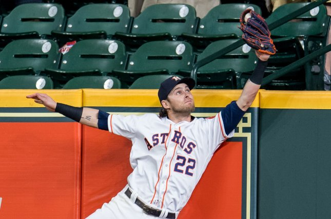 Houston Astros right fielder Josh Reddick brought in a run and saved the game with a catch in a win against the Texas Rangers on Thursday in Houston. Photo by Trask Smith/UPI