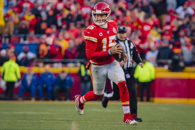 Kansas City Chiefs quarterback Patrick Mahomes finished with 325 passing yards and three touchdowns against the Buffalo Bills on Sunday night. File Photo by Kyle Rivas/UPI