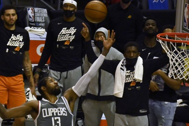 Forward Paul George missed just five shots during a 41-point performance to help the Los Angeles Clippers beat the Phoenix Suns Monday night. File Photo by Jim Ruymen/UPI