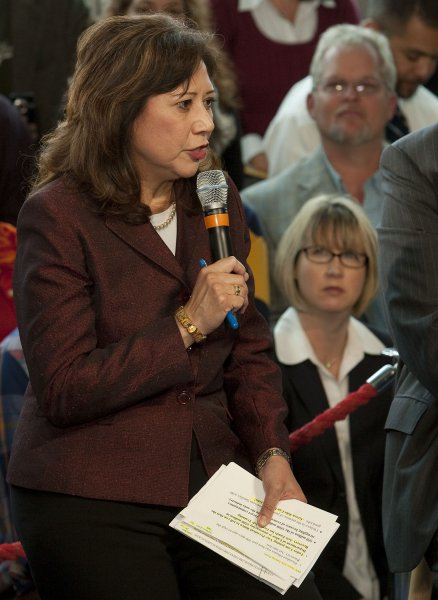 Secretary of Labor Hilda Solis speaks to a gathering at a town hall forum with the Middle Class Task Force to build a strong middle class through a Green economy at the Denver Museum of Nature and Science in Denver on May 26, 2009. (UPI Photo/Gary C. Caskey)