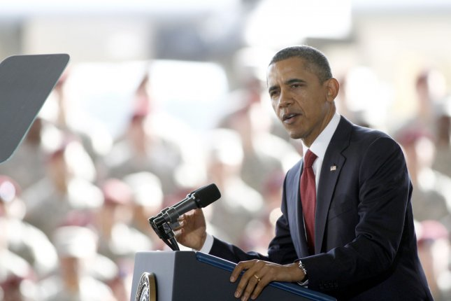 U.S. President Barack Obama discusses the end of combat in Iraq as he speaks to troops at Fort Bragg, North Carolina on December 14, 2011. UPI/Nell Redmond .