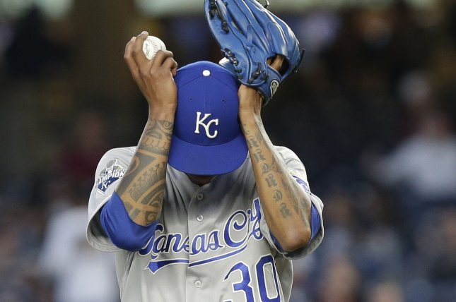 Kansas City Royals starting pitcher Yordano Ventura. Photo by John Angelillo/UPI