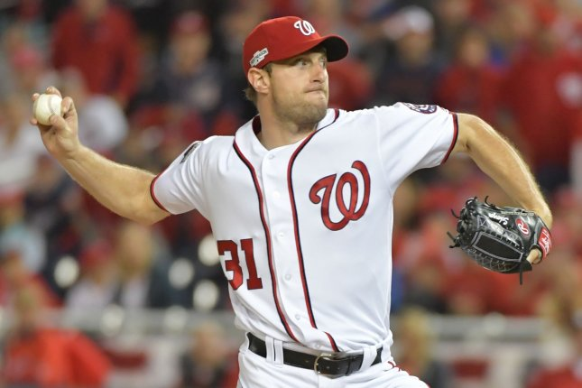 Washington Nationals pitcher Max Scherzer throws during the first inning against the Los Angeles Dodgers in game 5 of the National League Division Series at Nationals Park on October 13, 2016. The winner of this game will face the Chicago Cubs in the NLCS. Photo by Kevin Dietsch/UPI