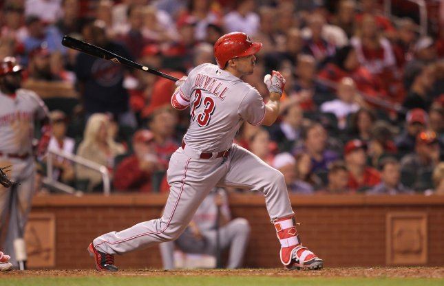 Adam Duvall and the Cincinnati Reds blasted the Chicago Cubs on Friday. Photo by Bill Greenblatt/UPI