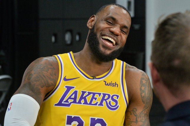 Los Angeles Lakers' forward LeBron James participates in Lakers media day on September 24 at the UCLA Health Training Center in El Segundo, Calif. Photo by Jim Ruymen/UPI