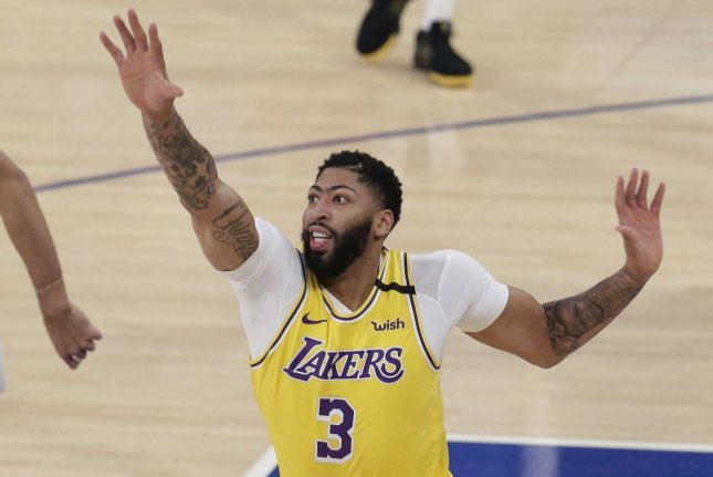 Los Angeles Lakers forward Anthony Davis paced his squad to a victory against the Utah Jazz Monday in Orlando, Fla. File Photo by John Angelillo/UPI