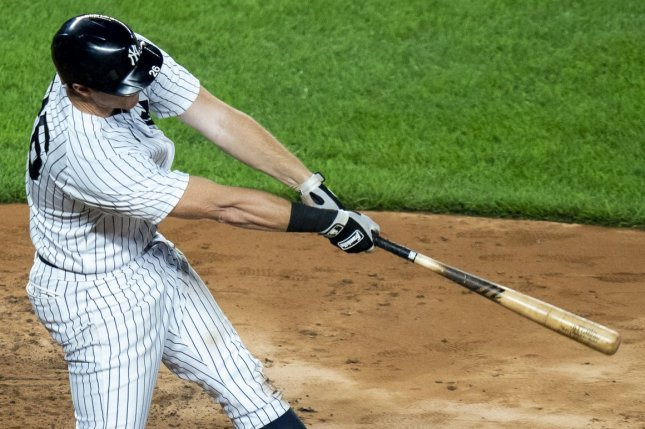 New York Yankees second baseman D.J. LeMahieu went 4 for 5 with two runs scored and an RBI in a win over the Atlanta Braves Wednesday at Yankee Stadium in New York City. Photo by Corey Sipkin/UPI