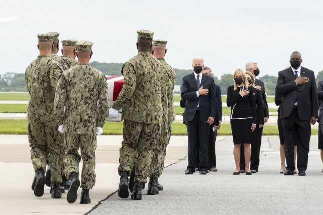 President Joe Biden traveled to Dover Air Force Base in Delaware on Sunday to the dignified transfer of the American service members killed in a pair of explosions near Hamid Karzai International Airport in Kabul.Photo by Jason Minto/U.S. Air Force/UPI