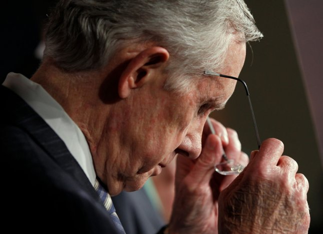 Senate Majority Leader Harry Reid, D-Nev. pauses while addressing the media after voting to end the government shutdown, at the U.S. Capitol in Washington D.C. October 16, 2013. UPI/Molly Riley