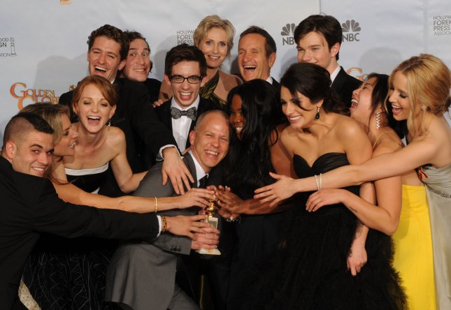 The cast of Glee appears backstage with the award for Best Television Series (Comedy) at the 67th annual Golden Globe Awards at the Beverly Hilton on January 17, 2010 in Beverly Hills, California. UPI /Jim Ruymen