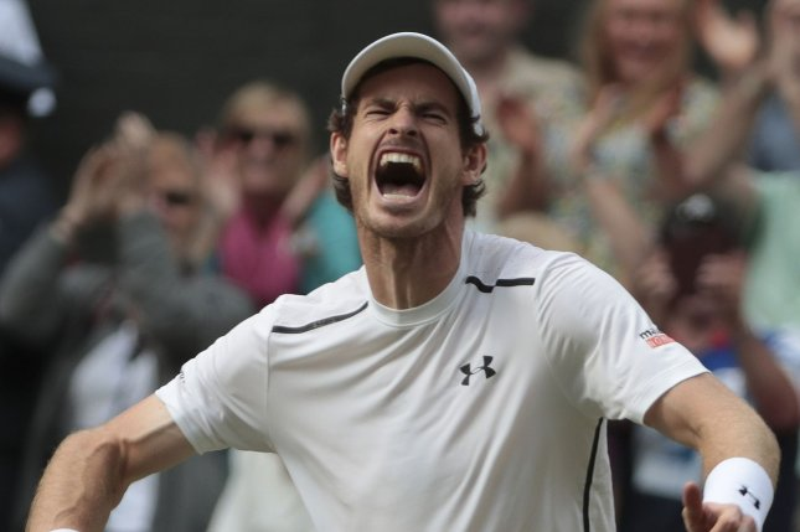 Britain's Andy Murray celebrates victory. Photo by Hugo Philpott/UPI