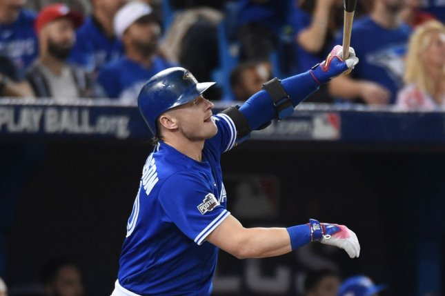 Toronto Blue Jays third baseman Josh Donaldson hits a home run. File photo by Darren Calabrese/UPI