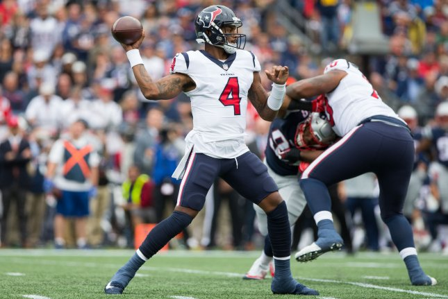 Houston Texans quarterback Deshaun Watson (4) drops back for a pass in the  first quarter against the New England Patriots at Gillette Stadium in  Foxborough a9b38ae49