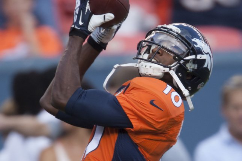 Denver Broncos wide receiver Emmanuel Sanders (10) will return to the Broncos for the 2019 season. File Photo by Gary C. Caskey/UPI