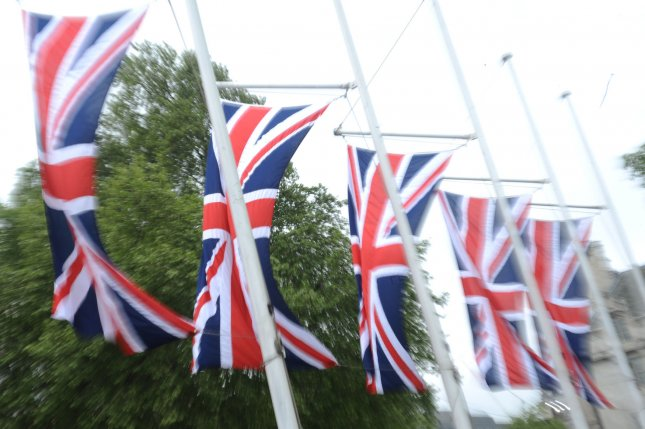 A row of British flags displaying the Union Jack is seen at Parliament Square in London, Britain. File Photo by Rune Hellestad/UPI