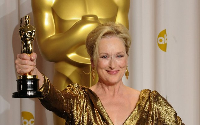 Meryl Streep holds her Best Actress Oscar for The Iron Lady backstage at the 84th Academy Awards at the Hollywood and Highlands Center in Los Angeles on February 26, 2012. UPI/Jim Ruymen