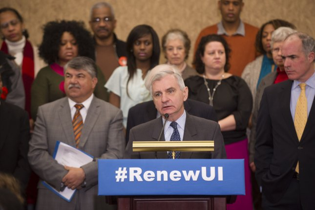 Sen Jack Reed (D-RI) speaks during a rally on extending unemployment benefits on Capitol Hill in Washington, D.C.. UPI/Kevin Dietsch