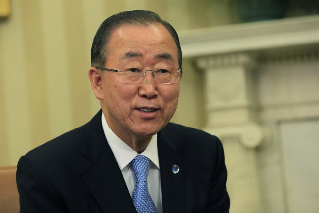 United Nations Secretary-General Ban Ki-moon visited the White House on Aug. 4. He is to attend China's 70th anniversary parade that commemorates the end of World War II. Pool Photo by Dennis Brack/UPI