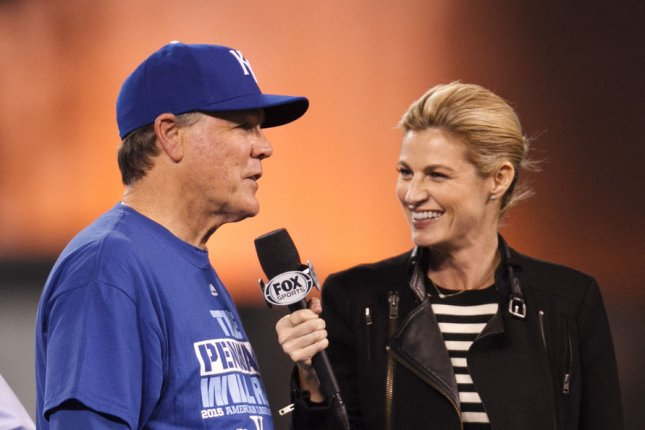 Erin Andrews speaks to Kansas City Royals manager Ned Yost after the team's American League Championship Series win on Oct. 23. The television personality opened up about boyfriend Jarret Stoll on Monday. File Photo by Jeff Moffett/UPI