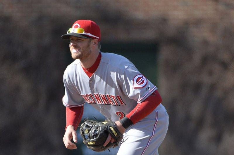 Cincinnati Reds shortstop Zack Cozart. UPI Photo/Brian Kersey