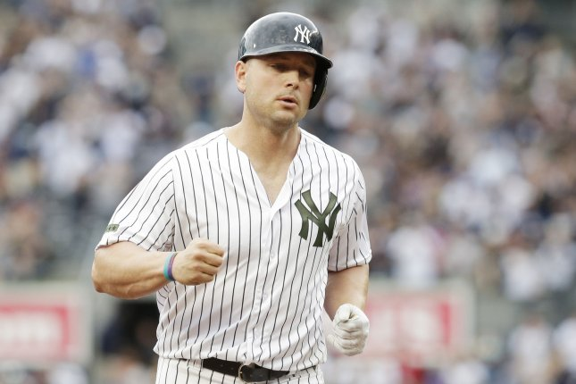 New York Yankees Matt Holliday runs the bases after hitting a 2-run home run in the 6th inning against the Oakland Athletics at Yankee Stadium in New York City on May 27, 2017. File photo by John Angelillo/UPI
