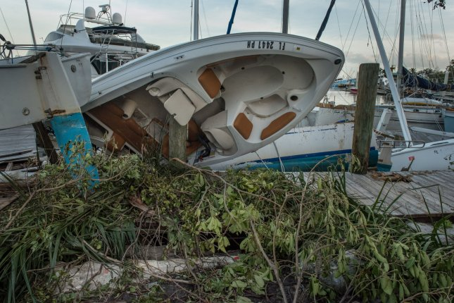 Boats mangled by Hurricane Irma lie ruined at Bayshore Marina in Miami on September 11. Forecasters from Colorado State University predicted Thursday a stronger than normal hurricane season in 2018. File Photo by Ken Cedeno/UPI