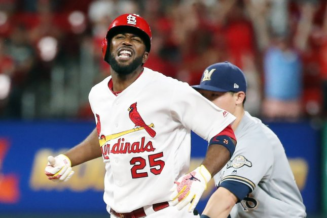 St. Louis Cardinals outfielder Dexter Fowler was 1-for-4 with two RBIs, a run scored and a strikeout out of the leadoff spot in a 6-5 win against the Colorado Rockies Thursday in St. Louis. Photo by Bill Greenblatt/UPI