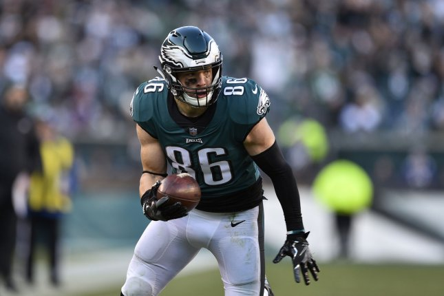 Philadelphia Eagles tight end Zach Ertz suffered a fractured rib in last week's game against the Dallas Cowboys. File Photo by Derik Hamilton/UPI