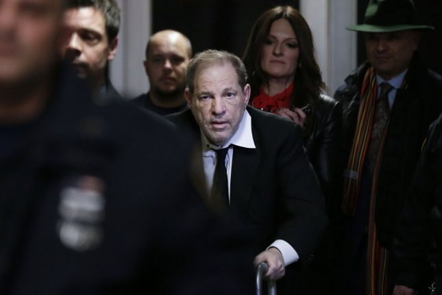 Film producer Harvey Weinstein left Manhattan Court on January 10, 2020, as jury selection was underway in his sexual misconduct trial. He was convicted the next month and sentenced to 23 years in prison. File photo by John Angelillo/UPI