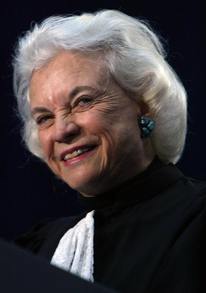 Supreme Court Justice Sandra Day O'Connor makes remarks before swearing in Michael Chertoff as secretary of Homeland Security at the Ronald Reagan Building in Washington, on March 3, 2005. On September 25, 1981, O'Connor was sworn in as the first female U.S. Supreme Court justice. File Photo by Dennis Brack/UPI