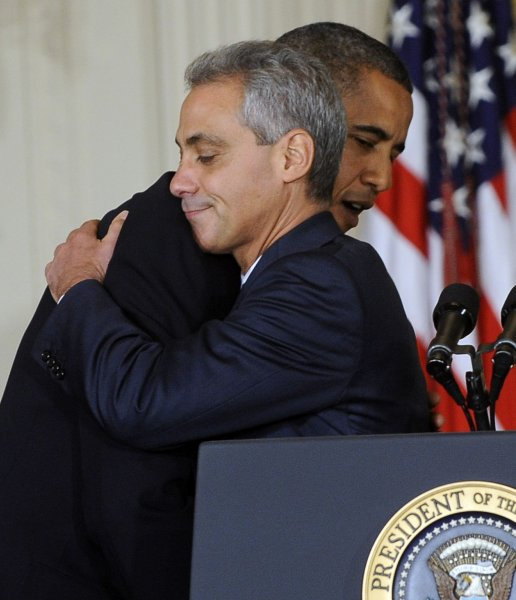 U.S. President Barack Obama hugs Rahm Emanuel after Obama announced Emanuel will be replaced by Pete Rouse (not pictured) as White House Chief of Staff in the East Room of the White House in Washington on October 1, 2010. Emanuel is leaving the White House likely to pursue the role of Mayor of Chicago. UPI/Roger L. Wollenberg