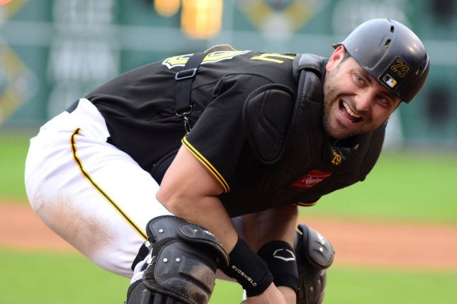 Pittsburgh Pirates catcher Francisco Cervelli (29). Photo by Archie Carpenter/UPI