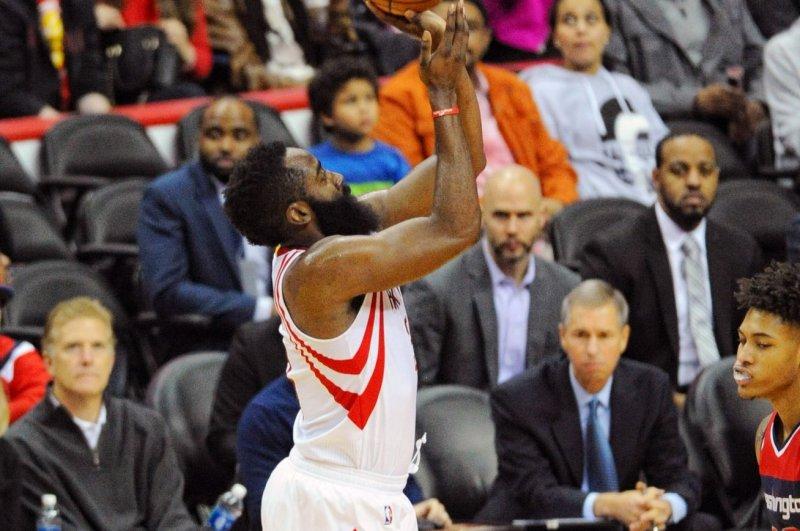 Houston Rockets guard James Harden (13). Photo by Mark Goldman/UPI